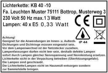 Typenschild-Kl II Lichterkette für Außen-Aussen
