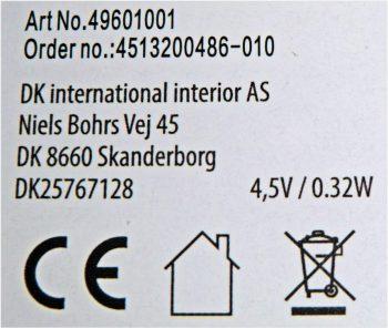 Batterielichterkette-Typenschild