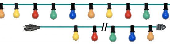 Lichterkette mit normalen Glühlampen 230V 25W, 15W oder 1 Watt (LED).