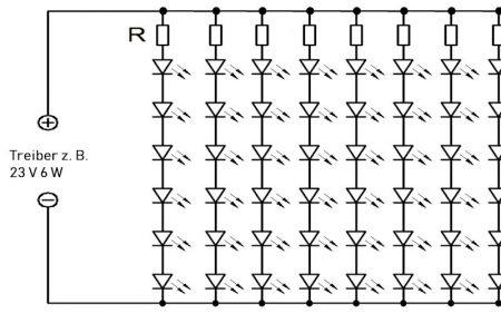 Ausschnitt: Schaltbild einer 1000er Lichterkette LEDs 1,6-2,9 V ca. 30-65 mW