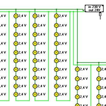 Ausschnitt: Schaltbild einer 100 er Lichterkette Lampen 2,4 V 0,17W